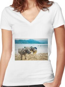 Water Buddies Women's Fitted V-Neck T-Shirt