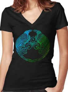 Celtic Crows Women's Fitted V-Neck T-Shirt