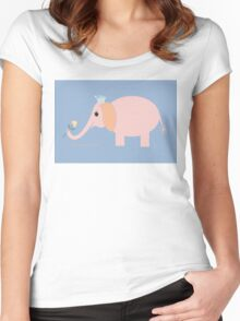 ELEPHANT WITH BLOOMS & BLING Women's Fitted Scoop T-Shirt