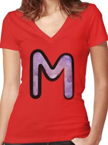 Watercolor - M - purple Women's Fitted V-Neck T-Shirt