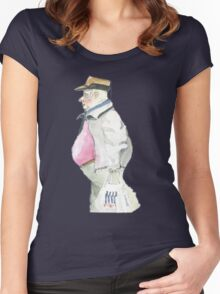 man with sideburns and tesco bag Women's Fitted Scoop T-Shirt