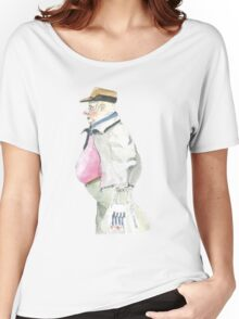 man with sideburns and tesco bag Women's Relaxed Fit T-Shirt