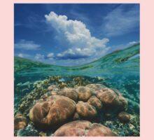Over under sky cloud split with coral reef underwater Kids Tee