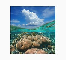Over under sky cloud split with coral reef underwater Unisex T-Shirt