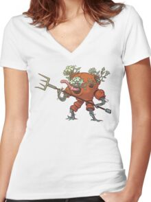 Worm Knight Women's Fitted V-Neck T-Shirt
