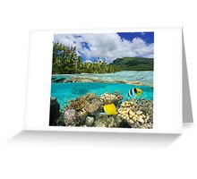 Above and below surface lagoon French Polynesia Greeting Card