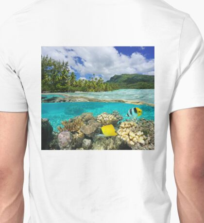 Above and below surface lagoon French Polynesia Unisex T-Shirt