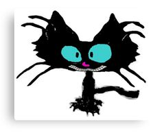 Black Cat Smiling  Canvas Print