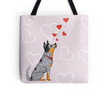"Australian Cattle Dog, Blue Heeler, ""Floating Hearts"" Tote Bag"