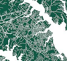 Annapolis Map - Dark Green by CartoCreative