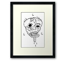 Melted Face 666 BW Framed Print