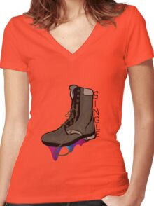 Single Boot Rainbow Women's Fitted V-Neck T-Shirt