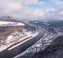 Elbe Valley with Mountain Pfaffenstein by JennyRainbow