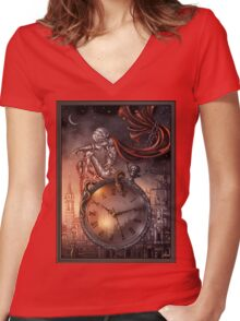 Clock Women's Fitted V-Neck T-Shirt