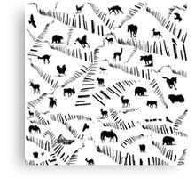 Animals on a Winter Day  Canvas Print
