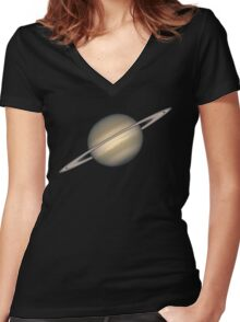 Saturn Women's Fitted V-Neck T-Shirt