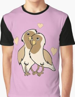 Valentine's Day Antique White Love Birds with Hearts Graphic T-Shirt