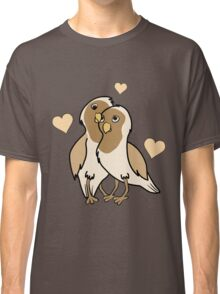 Valentine's Day Antique White Love Birds with Hearts Classic T-Shirt