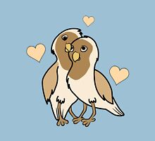 Valentine's Day Antique White Love Birds with Hearts Unisex T-Shirt