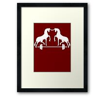 Unicorns Frolicking Over A Barbell Framed Print