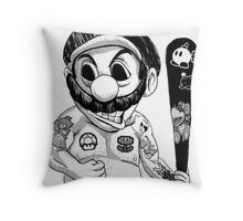 Bad Mario Throw Pillow
