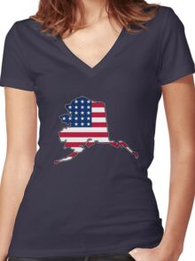 American flag Alaska outline Women's Fitted V-Neck T-Shirt
