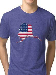 American flag Alaska outline Tri-blend T-Shirt