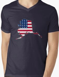 American flag Alaska outline Mens V-Neck T-Shirt