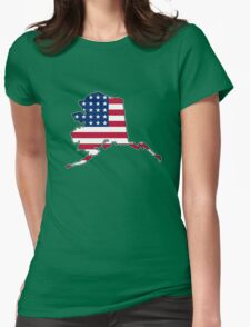 American flag Alaska outline Womens Fitted T-Shirt