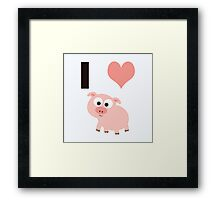 I heart pigs Framed Print