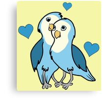 Valentine's Day Blue Love Birds with Hearts Canvas Print