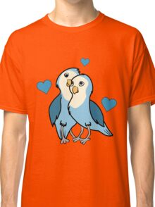 Valentine's Day Blue Love Birds with Hearts Classic T-Shirt