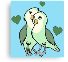 Valentine's Day Green Love Bird with Hearts Canvas Print