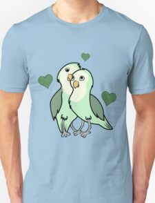 Valentine's Day Green Love Bird with Hearts Unisex T-Shirt