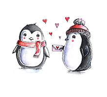 Penguin Valentine Photographic Print