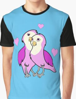 Valentine's Day Pink Love Birds with Hearts Graphic T-Shirt