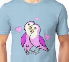 Valentine's Day Pink Love Birds with Hearts Unisex T-Shirt