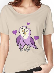 Valentine's Day Purple Love Birds with Hearts Women's Relaxed Fit T-Shirt