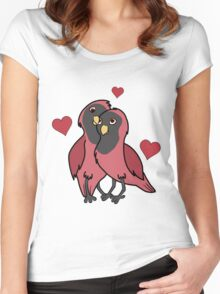 Valentine's Day Red & Black Love Birds with Hearts Women's Fitted Scoop T-Shirt