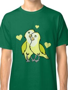 Valentine's Day Yellow Love Birds with Hearts Classic T-Shirt