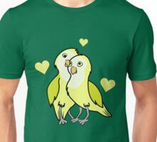 Valentine's Day Yellow Love Birds with Hearts Unisex T-Shirt