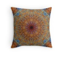 Boho Earthy Blue and Copper Brown Intricate Spyrograph Circle and Diamond Eastern Influended Mandala Stained Glass Window Tile Pattern Throw Pillow