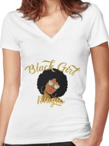 Black Girl Magic Graphic Women's Fitted V-Neck T-Shirt