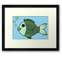 Valentine's Day Green Fish with Heart Bubbles Framed Print