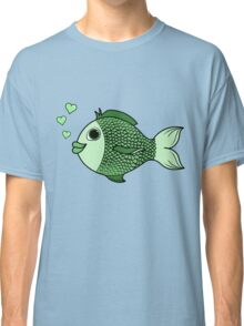 Valentine's Day Green Fish with Heart Bubbles Classic T-Shirt