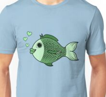 Valentine's Day Green Fish with Heart Bubbles Unisex T-Shirt