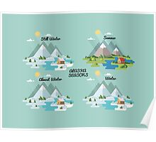 Alaska Seasons: Still Winter - Summer - Almost Winter - Winter Poster
