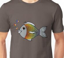 Valentine's Day Rainbow Fish with Heart Bubbles Unisex T-Shirt