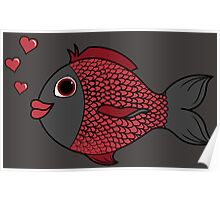 Valentine's Day Red & Black Fish with Heart Bubbles Poster