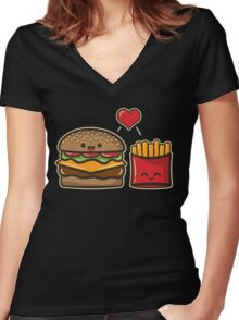 Burger and Fries Women's Fitted V-Neck T-Shirt